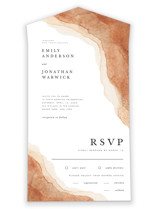 This is a brown all in one wedding invitation by Yuliya Evseeva called Watercolor dune with standard printing on value cover in all-in-one.