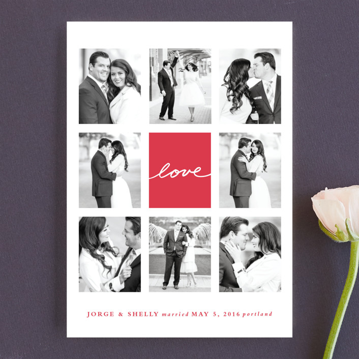 """Joie Grid"" - Modern Wedding Announcements in Strawberry by Stacey Meacham."
