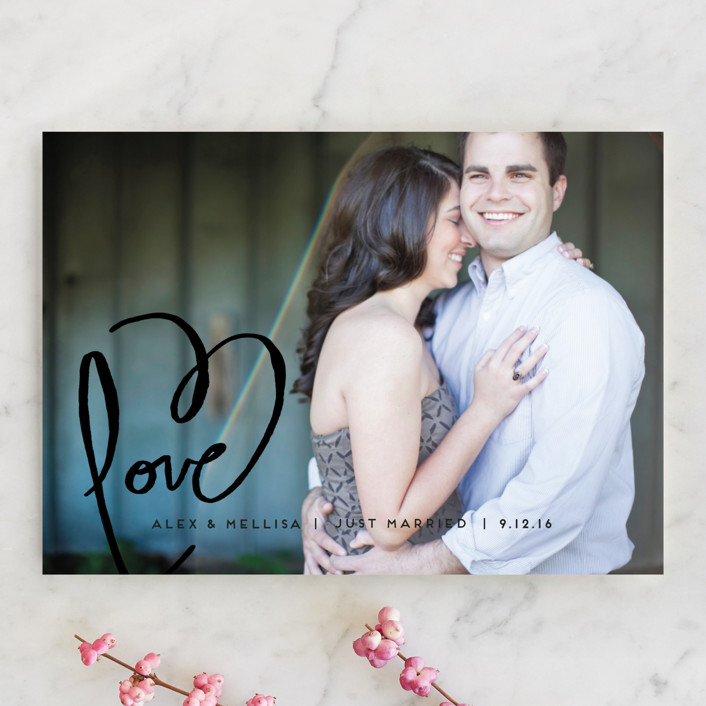 """""""Love + Heart"""" - Simple, Whimsical & Funny Wedding Announcements in Goldenrod by Kelly Ventura."""