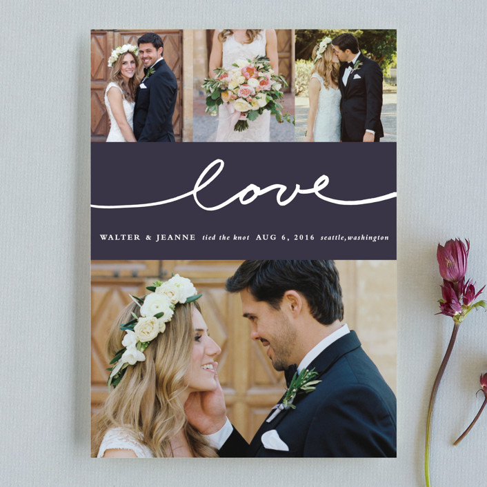 """""""Oh Joy"""" - Modern Wedding Announcements in Eggplant by Stacey Meacham."""