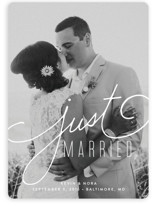 This is a white wedding announcement by Jessica Williams called Signature with standard printing on signature in standard.