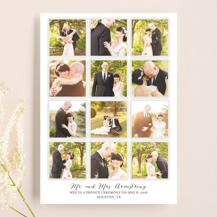 """""""A Year in My Life"""" - Simple Wedding Announcements in Snowfall by Robin Ott."""