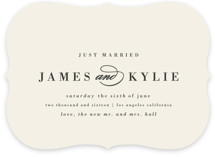 This is a beige wedding announcement by Roxy Cervantes called Classically Stated with standard printing on signature in standard.