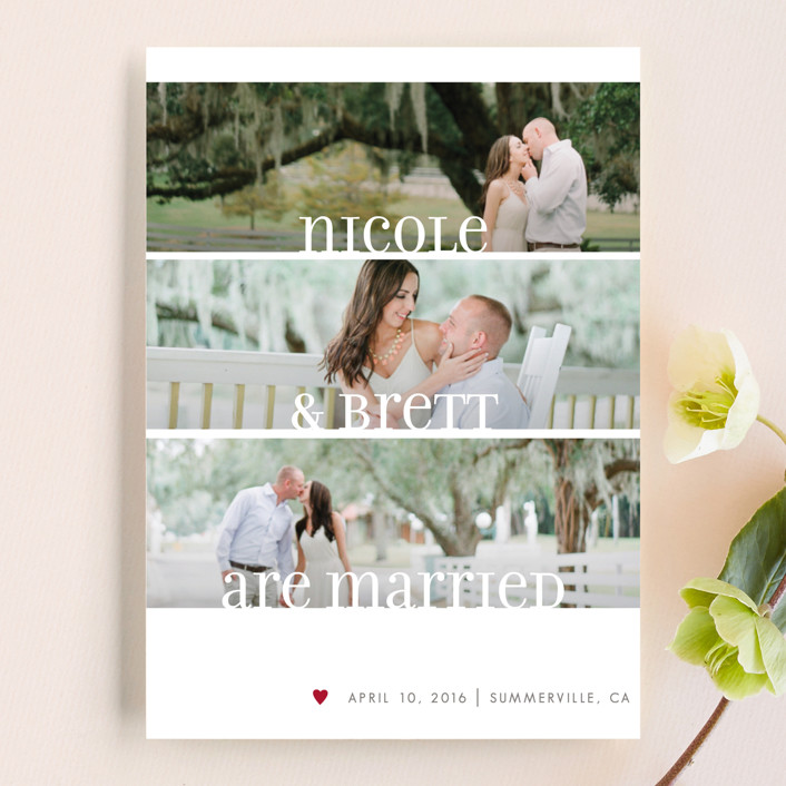 """Clean Merry Wishes"" - Wedding Announcements in Burgundy by Susie Allen."