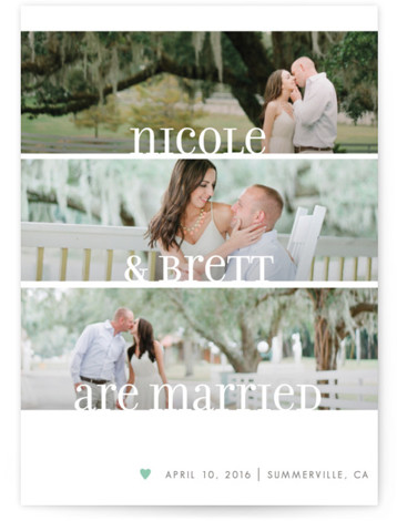 This is a portrait simple, green Wedding Announcements by Susie Allen called Clean Merry Wishes with Standard printing on Signature in Classic Flat Card format.