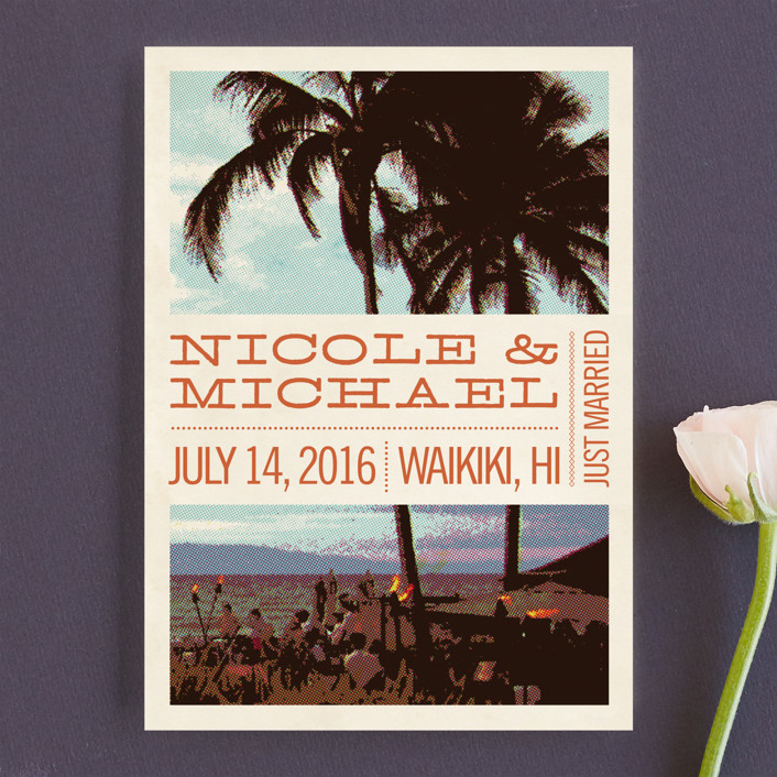 """Coconut Plantation"" - Beach, Destination Wedding Announcements in Tangerine by Alex Elko Design."
