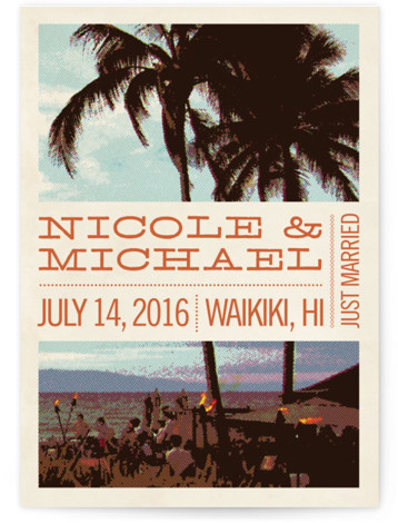 This is a portrait beach, destination, vintage, orange Wedding Announcements by Alex Elko Design called Coconut Plantation with Standard printing on Signature in Classic Flat Card format.