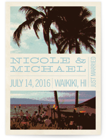 This is a portrait beach, destination, vintage, blue Wedding Announcements by Alex Elko Design called Coconut Plantation with Standard printing on Signature in Classic Flat Card format. Share your exciting news with friends and family by choosing one of Minted's ...