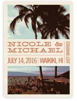 This is a orange wedding announcement by Alex Elko Design called Island Palms with standard printing on signature in standard.