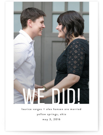 This is a portrait modern, simple, black, white Wedding Announcements by Up Up Creative called Date Check with Standard printing on Signature in Classic Flat Card format. Share your exciting news with friends and family by choosing one of Minted's ...