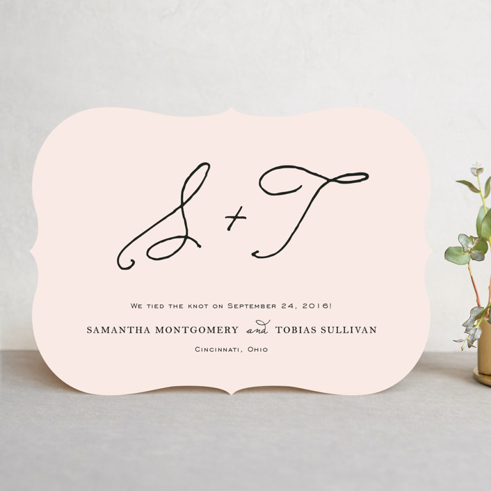 """Estate"" - Preppy Wedding Announcements in Blush by Kim Dietrich Elam."