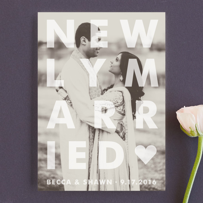 """Etched"" - Bold typographic Wedding Announcements in Frosted by Jack Knoebber."