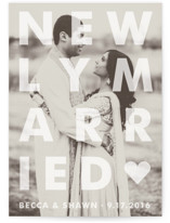This is a white wedding announcement by Jack Knoebber called Etched with standard printing on signature in standard.