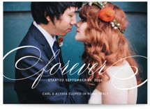 This is a white wedding announcement by Kimberly FitzSimons called Forever with standard printing on signature in standard.