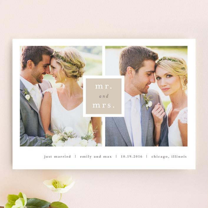 """""""Frame Up"""" - Modern, Simple Wedding Announcements in Khaki by Stacey Meacham."""