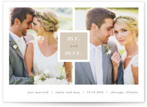 This is a brown wedding announcement by Stacey Meacham called Frame Up with standard printing on signature in standard.