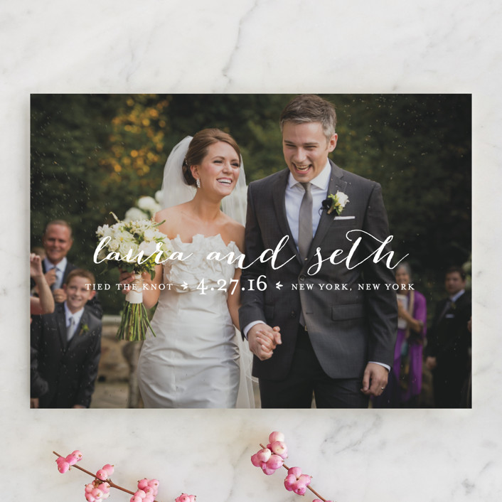 """""""Meet in the Middle"""" - Elegant, Simple Wedding Announcements in Lily by Lauren Chism."""