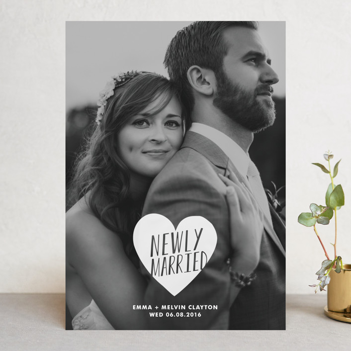 """Merry + Married"" - Simple, Whimsical & Funny Wedding Announcements in Frost by Kimberly Chow."