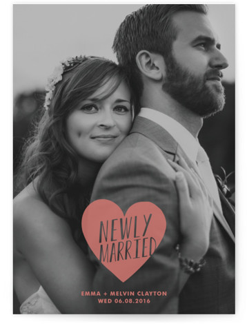 This is a portrait simple, whimsical, pink Wedding Announcements by Kimberly Chow called Merry + Married with Standard printing on Signature in Classic Flat Card format.