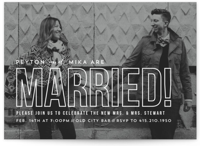 This is a landscape simple, white Wedding Announcements by carly reed walker called Modern Romantic with Standard printing on Signature in Classic Flat Card format. Share your exciting news with friends and family by choosing one of Minted's unique Wedding ...