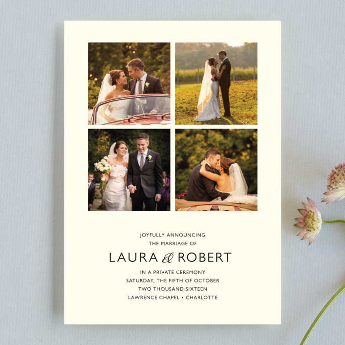 """Moments Captured"" - Modern Wedding Announcements in Ivory by Carrie Eckert."