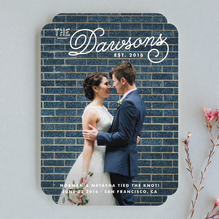 """Refined Surname"" - Vintage, Whimsical & Funny Wedding Announcements in Snow by Oscar & Emma."