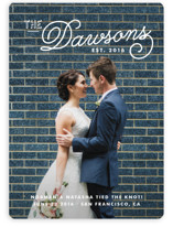 This is a white wedding announcement by Oscar and Emma - Karly Depew called Refined Surname with standard printing on signature in standard.