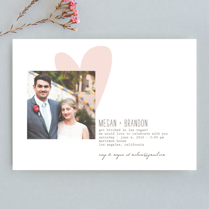"""""""Simply Love"""" - Modern, Whimsical & Funny Wedding Announcements in Soft Pink by Aspacia Kusulas."""