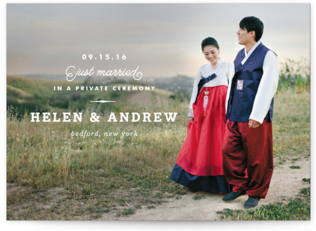 This is a landscape formal, vintage, white Wedding Announcements by Oscar & Emma called Timeless with Standard printing on Signature in Classic Flat Card format. Share your exciting news with friends and family by choosing one of Minted's unique Wedding ...