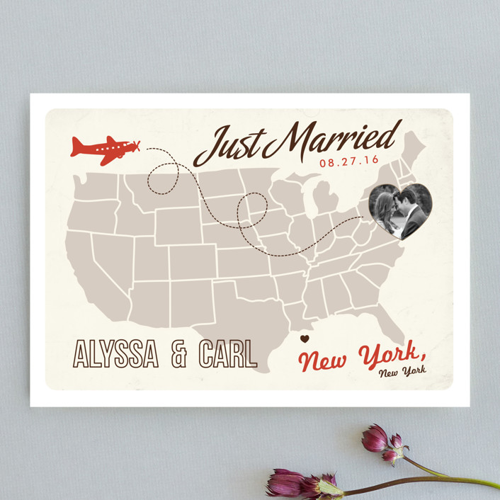 """Up and Away"" - Destination Wedding Announcements in Tomato by leslie hamer."
