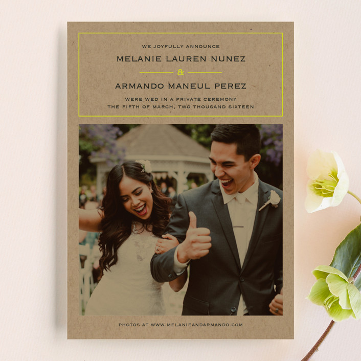 """""""Vintage Kraft"""" - Wedding Announcements in Chartreuse by Waldo Press."""