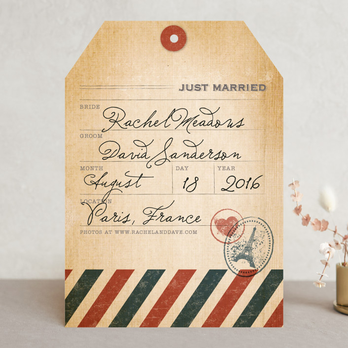 """Vintage Pack Your Bags"" - Destination, Vintage Wedding Announcements in Post Office by Dawn Jasper."