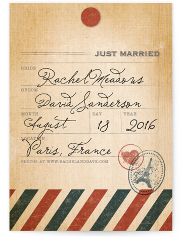 This is a portrait destination, vintage, blue, red Wedding Announcements by Dawn Jasper called Vintage Pack Your Bags with Standard printing on Signature in Classic Flat Card format.