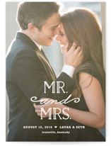 This is a white wedding announcement by Carolyn MacLaren called XOXO with standard printing on signature in standard.