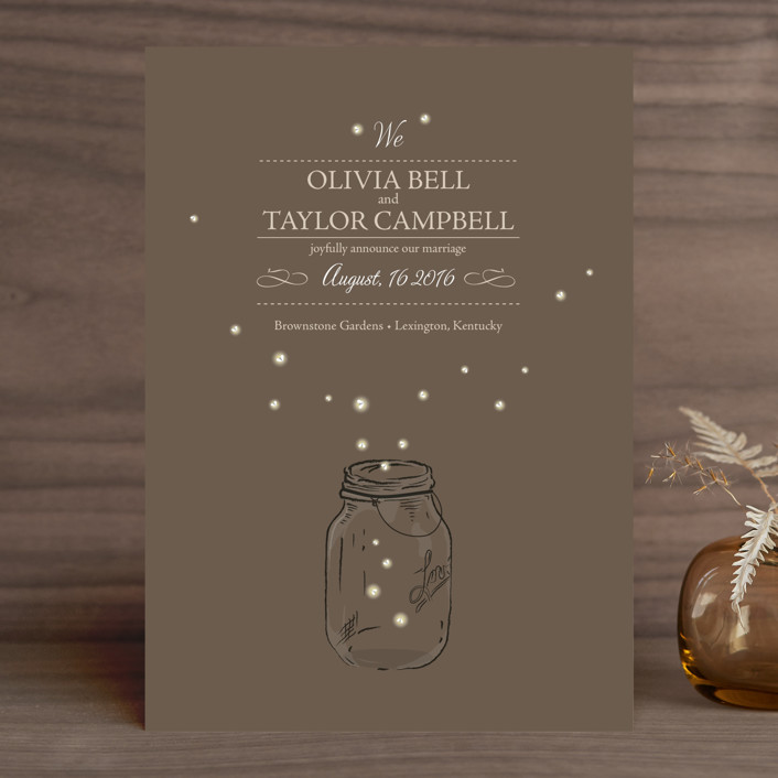 """Fireflies"" - Whimsical & Funny, Rustic Wedding Announcements in Zuni Brown by cadence paige design."