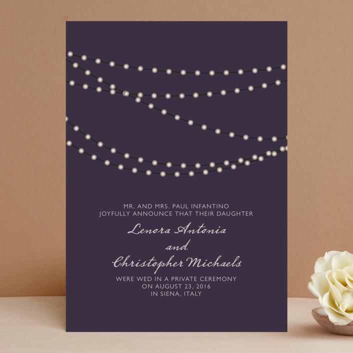 """Midnight Vineyard"" - Bohemian, Rustic Wedding Announcements in Deep Eggplant by Design Lotus."