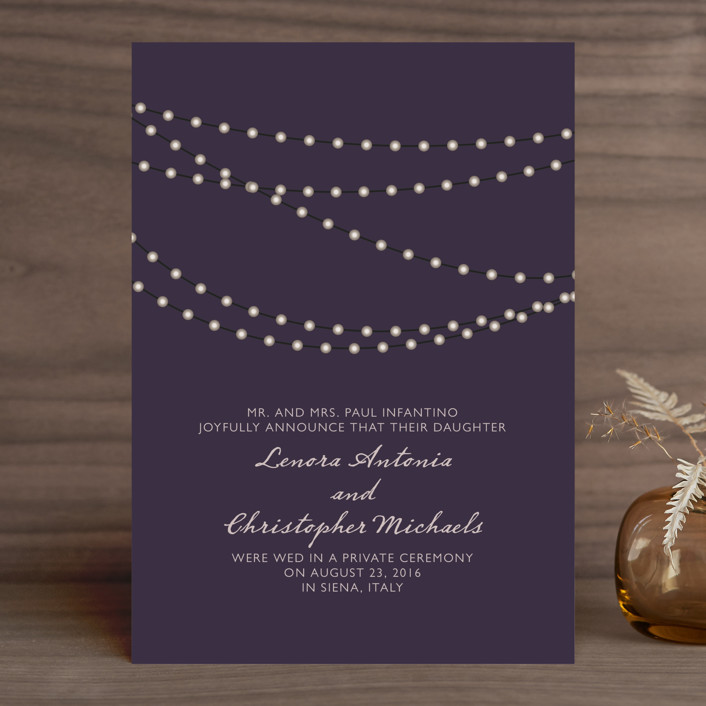 """Midnight Vineyard"" - Bohemian, Rustic Wedding Announcements in Deep Eggplant by Design Lotus."