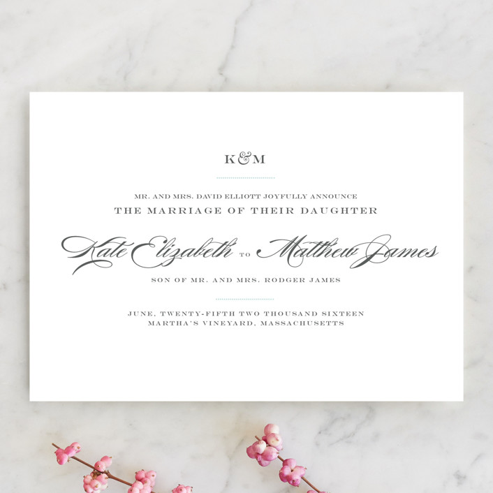 """Charming Go Lightly"" - Formal, Elegant Wedding Announcements in Sky Blue by danielleb."