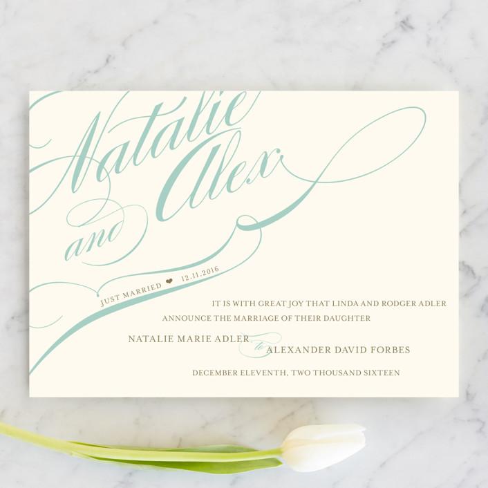 """Winter Flourish"" - Formal, Elegant Wedding Announcements in Sky Blue by annie clark."