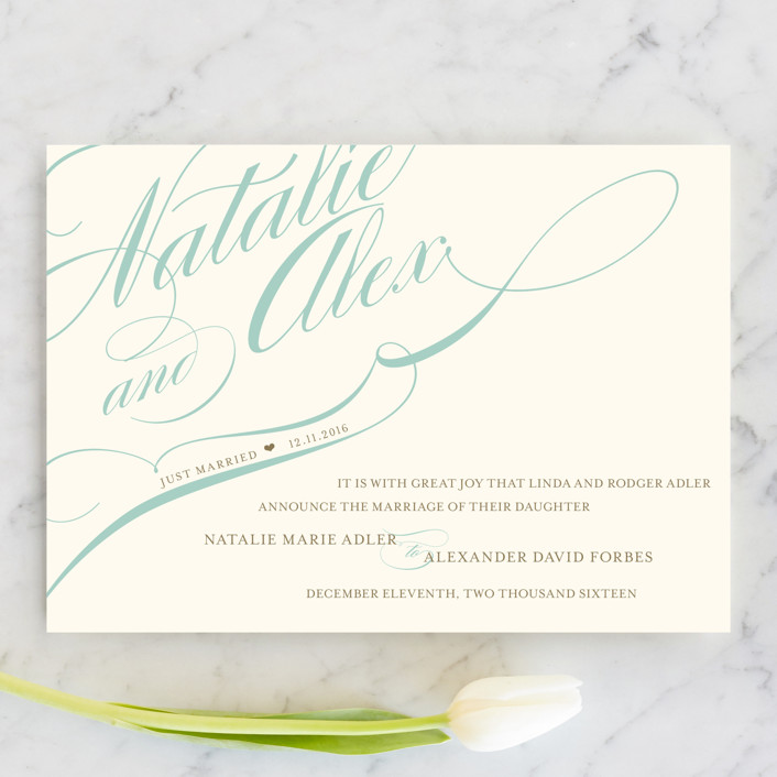 """Winter Flourish"" - Wedding Announcements in Sky Blue by annie clark."