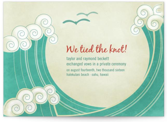 BLOCK PRINT WAVES Wedding Announcements