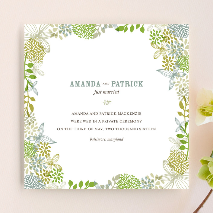"""Fling"" - Floral & Botanical, Rustic Wedding Announcements in Leaf by Andrea Mentzer."