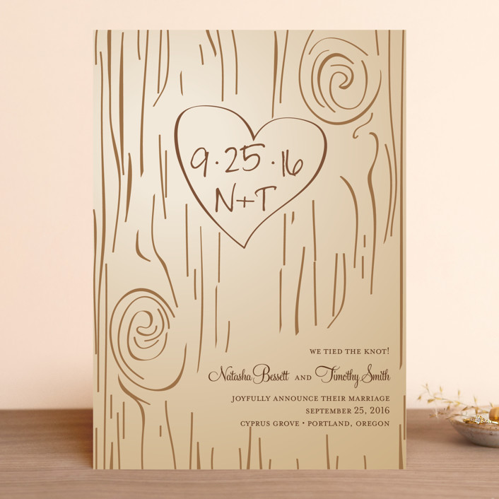 """Fall Carving"" - Monogrammed, Rustic Wedding Announcements in Woodgrain by Amanda Joy."