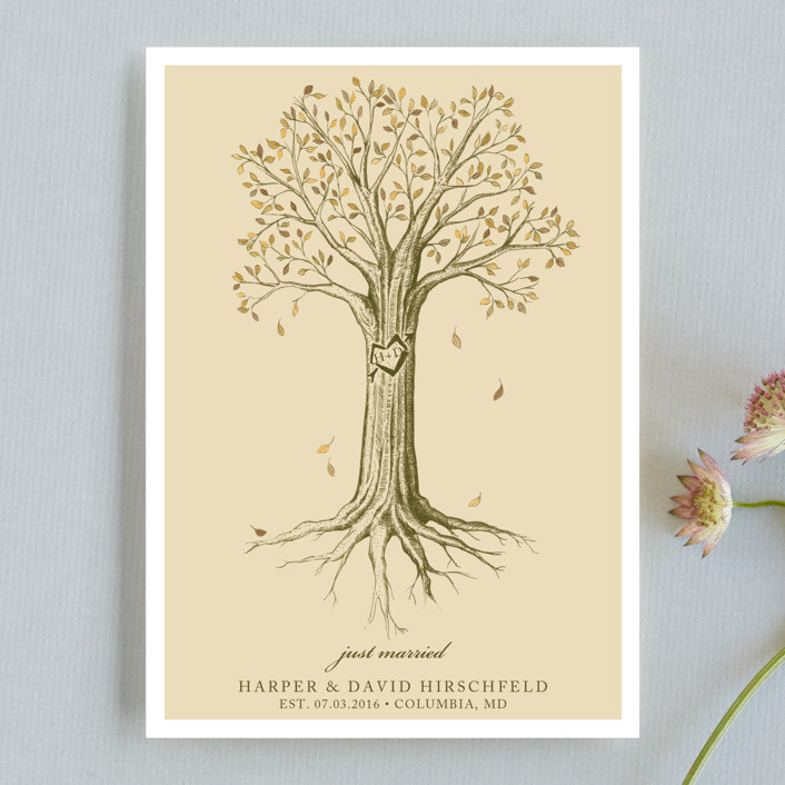 """Carved Tree"" - Vintage, Rustic Wedding Announcements in Warm Beige by pottsdesign."