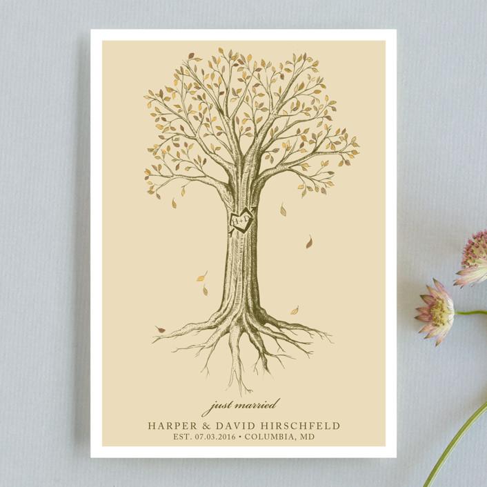 """Carved Tree"" - Vintage, Rustic Wedding Announcements in Warm Beige by pottsdesign."