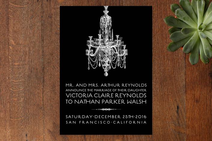 """Chandelier"" - Formal Wedding Announcements in Midnight by Splendid Press."