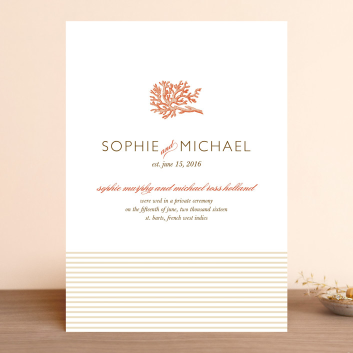 """Coral"" - Destination, Beach Wedding Announcements in Tangelo by Oscar & Emma."