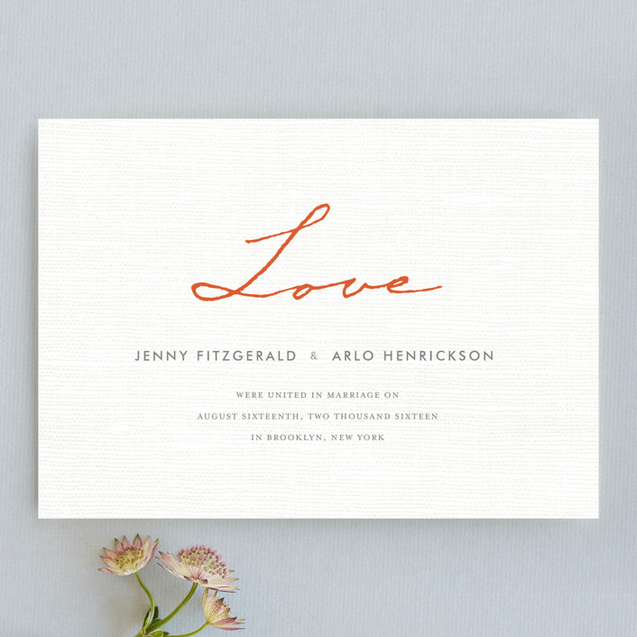 """""""Simply in Love"""" - Wedding Announcements in Orange Zest by cambria."""