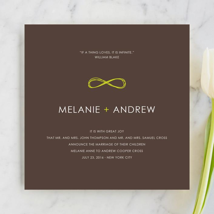 """Infinite"" - Modern Wedding Announcements in Bister by The AV Design Factory."