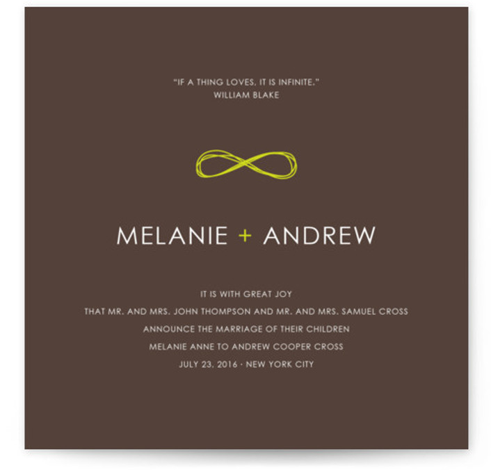 This is a square modern, brown Wedding Announcements by The AV Design Factory called Infinite with Standard printing on Signature in Classic Flat Card format. Share your exciting news with friends and family by choosing one of Minted's unique Wedding ...